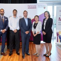 Adam Felesky (centre) poses with the finalists of this year's Adam Felesky MBA Scholarship competition: From left: Jassie Bhatal, Sharwin Rodrigues, Felesky, Michelle Zhu (winner), Elizabeth Van Dyck.