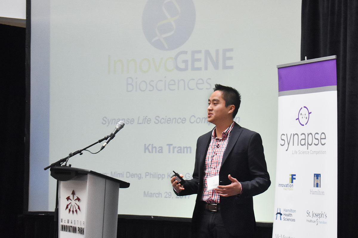 Dr. Kha Tram, a PhD graduate from McMaster University, presents the business pitch which awarded InnovoGENE first place. The pitch was based off of a 15-page commercialization plan designed by Dr. Tram alongside DeGroote MBA students Philipp Kolb and Gabriella Demmings.