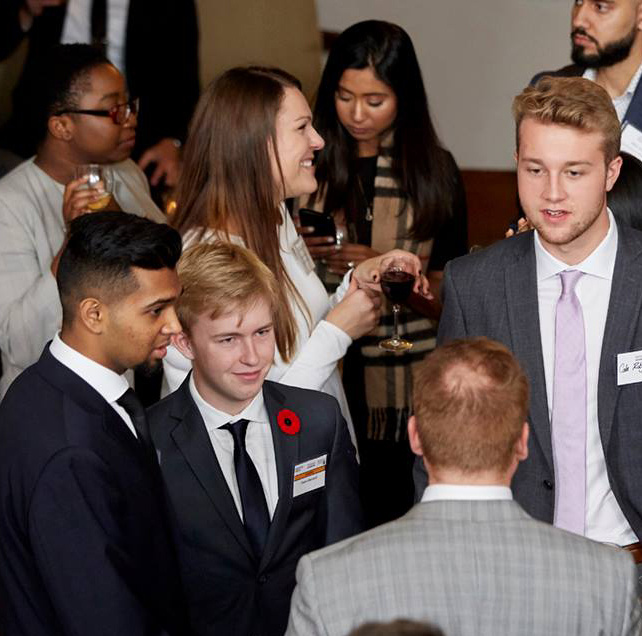Students at a networking event.