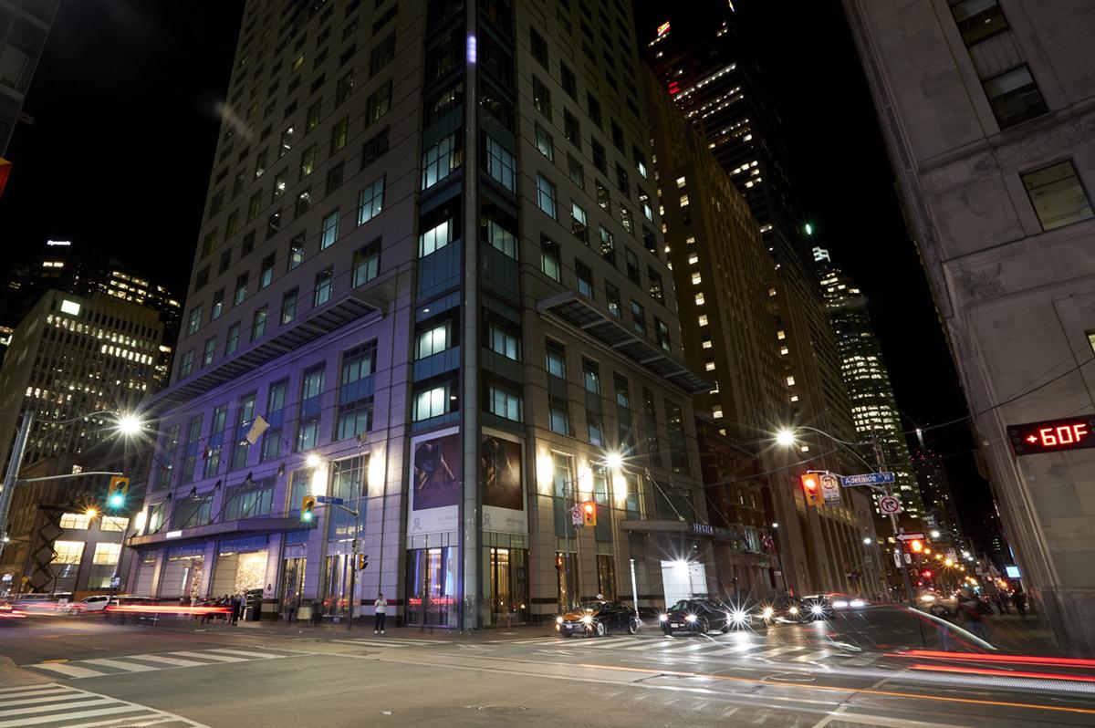 St. Regis Hotel at night in Toronto