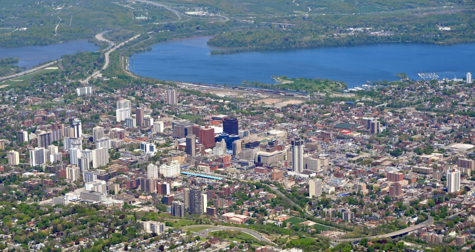 Panorama aerial view of downtown Hamilton, Ontario