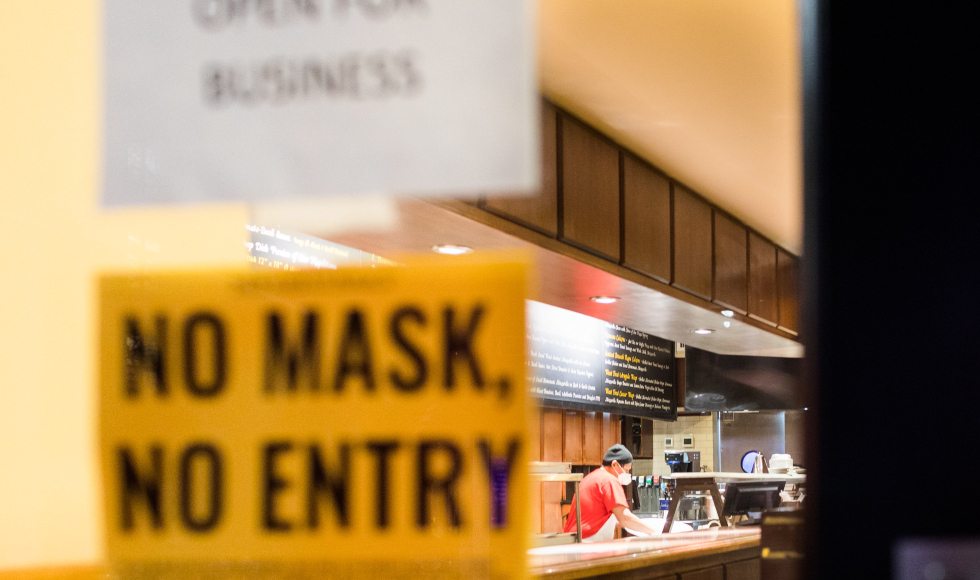 Business with no mask no entry sign