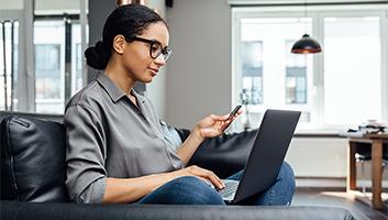 Black woman shopping online