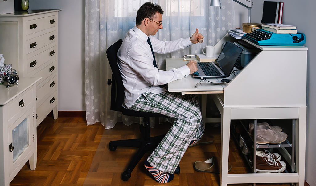 Man working from home without dress pants