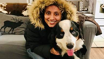 Megha Tretha with her dog