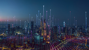 Smart city and abstract dot point connect with gradient line and aesthetic Intricate wave line design , big data connection technology concept