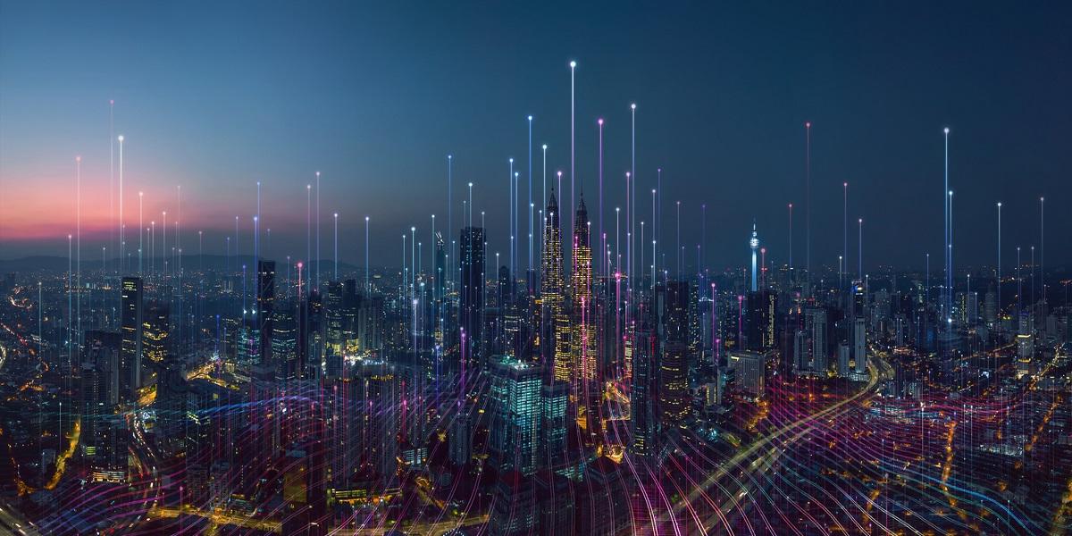 A future smart city along a dark blue background