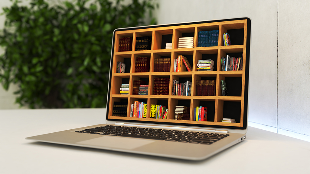 (Digital literacy) Laptop with online library deep of field realistic 3D rendering
