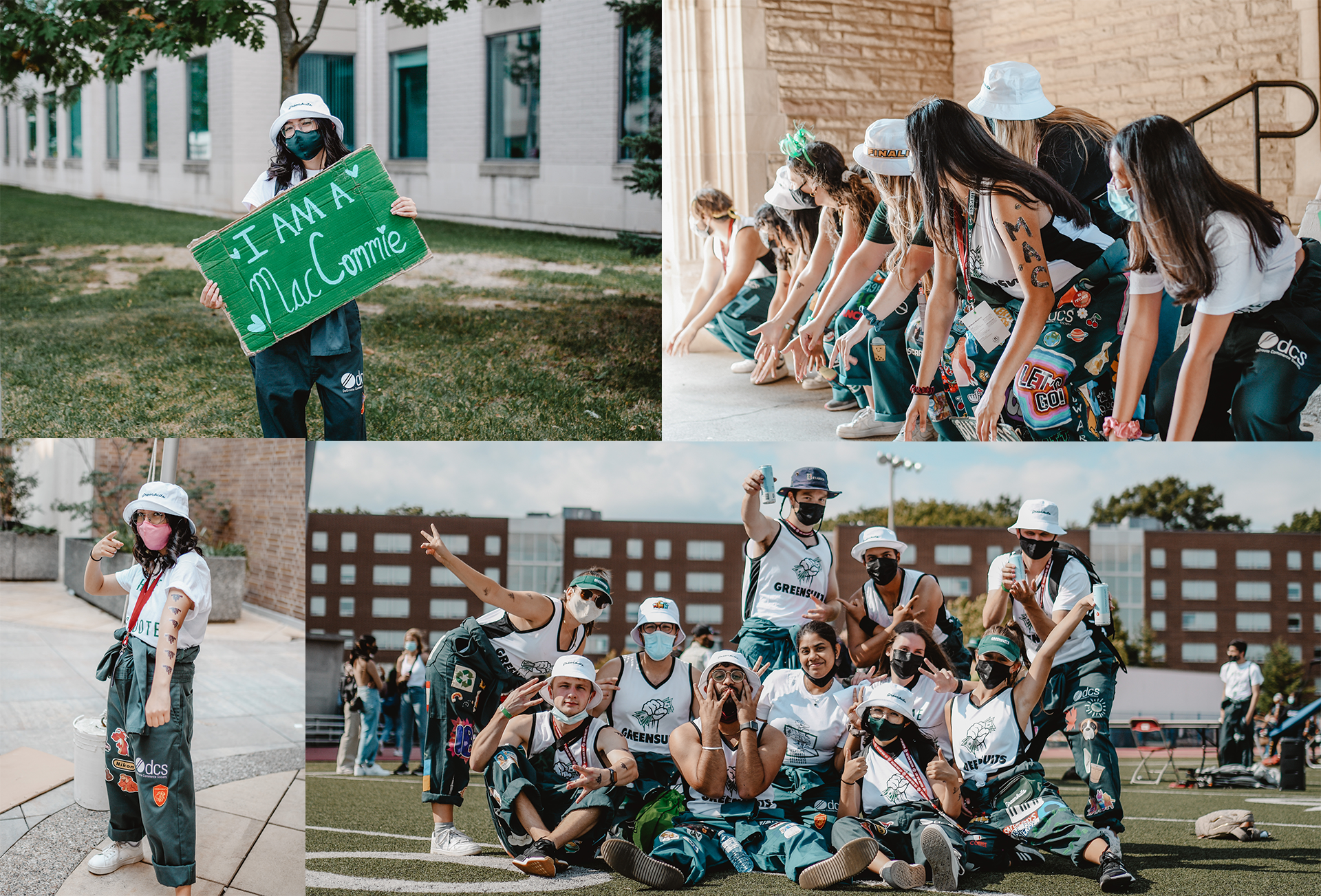Collage of Greensuits on campus